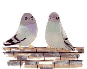 Grey Purple Pigeons in love print A3