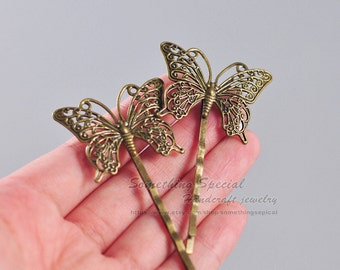 Butterfly hair pin Butterfly hair clip Vintage style Antique bronze Butterfly Hair clip Natural Woodland wedding Bridal Hair Accssories