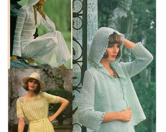 Crochet Pattern - Three Vintage 1970s Women Hooded Jacket and Top PDF Patterns - Instant Download