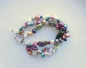 Pearl Necklace or Bracelet Freshwater Pearl Multi Color Shape Strand 3 Three Strand Sterling Silver Fall Wedding Jewelry