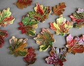 3 fall ceramic leaves, pottery, fall colors, Maple leaf, votive holder, table decoration, name plate, spoon rest, serving dish, ships today.