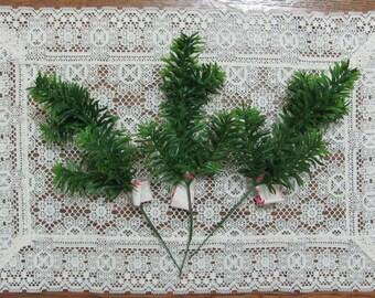 Three Vintage Lee Wards Green Plastic Evergreen Holiday Christmas Floral Picks