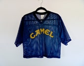 Vintage Camel™ Navy Mesh Netted Football Jersey with Logo Men's Size X-Large
