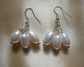 Bridal Pearl  Earrings with Sterling Hookwires