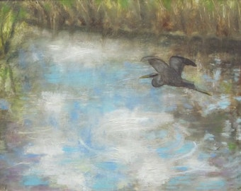 Original Plein Air Oil Painting River And Heron