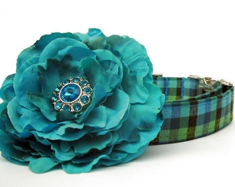 Teal Blue and Lime Green Gingham Dog Collar with Nickel Plate Hardware with Flower Accessory
