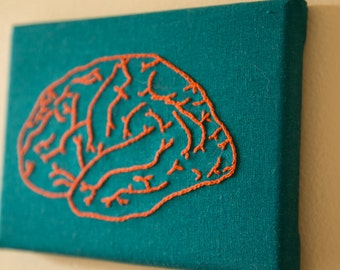 Hand Embroidered Brain- Teal