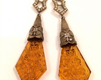 Czech Golden Filigree Ornate Topaz Yellow Glass Drop Sparkles Earrings Couture Massive Runway Designer True Vintage Jewelry Czecho Art Deco
