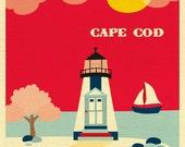 Cape Cod Art Print, Cape Cod Skyline Cape Cod Wall Art, MA Lighthouse Print, Cape Cod Wedding Gift, Loose Petals Cape Cod -  style E8-O-CC