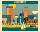 Minneapolis Skyline,  Minneapolis Print,  Minneapolis Poster, Loose Petals Horizontal Minneapolis MN City Art Print - style E8-O-MINB