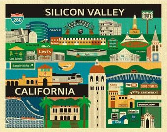 Silicon Valley Print,  Silicon Valley Poster, San Jose, Palo Alto, Stanford Print, Silicon Valley Skyline, Silicon Valley map art-  E8-O-SIL