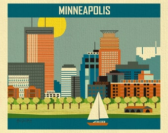 Minneapolis Skyline,  Minneapolis Print,  Minneapolis Poster, Loose Petals Horizontal Minneapolis MN City Art Print - style E8-O-MINB