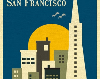 San Francisco Skyline Art Print, California Travel Retro Wall Art, San Francisco Poster, SF City Print, SF Bay Print, -style E8-O-SF1