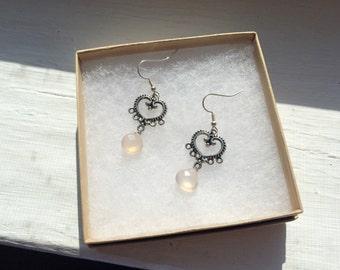 The Beating Heart Baby- Light Pink Ice Faceted Stones with Silver Decorated Heart Earrings