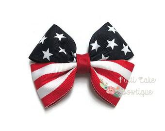 Stars & Stripes Hair Bows, Baby Girl Hair Clips, Little Girls Barrettes, Hair Accessories, Baby Bows, Patriotic Hair Bows, Toddler Hair Bows