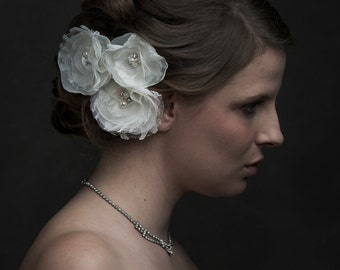 Ivory Wedding Hair Accessory, Ivory Wedding Hair Flowers, Wedding Hair Piece, Bridal Hair Accessories, Flower Set of Three - ready to ship