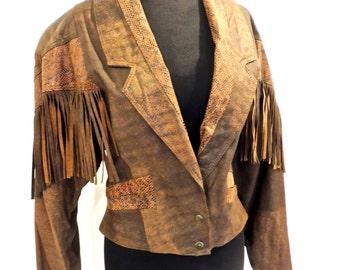SALE vintage fringed leather jacket - 1980s Winlit brown leather jacket