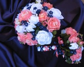 New Custom Navy and Coral Reef Bridal Bouquet, Silk Coral Reef and Navy Wedding Flowers