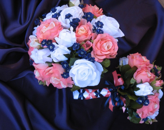 Navy and Coral Reef Bridal Bouquet, Silk Coral Reef and Navy Wedding Flowers