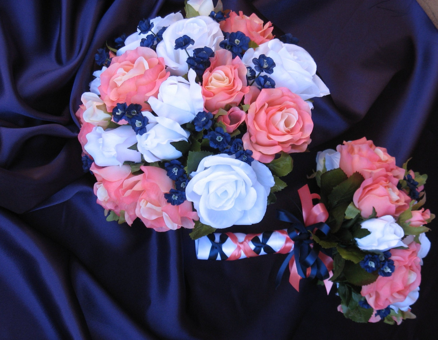 Navy And Coral Reef Bridal Bouquet Silk Coral Reef And Navy