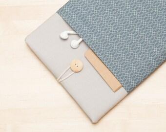 iPad Pro 9.7 sleeve, iPad Air cover, iPad Pro case, padded  - grey lines -