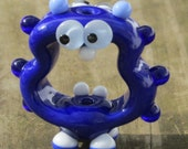 Cobalt Blue Screaming Alien Lampwork Glass Handmade SRA Artisan Bead NLC Beads leteam