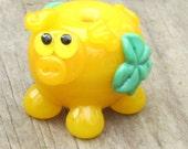 Green Shamrock Yellow St Patricks Day Pig Lampwork Handmade SRA Artisan Glass Bead NLC Beads leteam