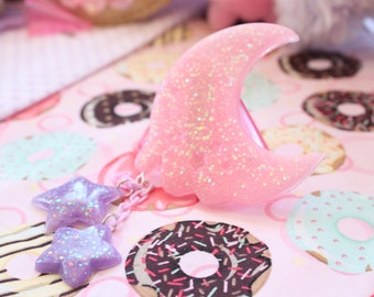 Fairy Kei Pastel Melty Moon And Stars Hair Clip