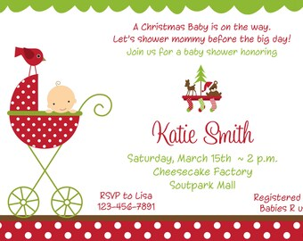 Christmas Baby Shower Invitation Christmas Baby Holiday Baby Shower Invitation Baby Boy Christmas Shower