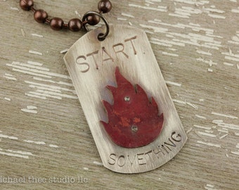 Start Something: Stamped Sterling Silver Tag Pendant with Red Copper Flame