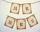 Mr & Mrs Chair Banners Wedding Decor Rustic Vintage Style Photo Props Garlands