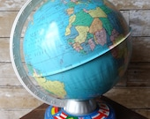 Vintage World Globe With Country Flags Made In The USA