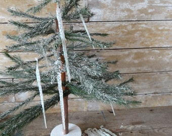 Vintage Icicles  With Plastic Sparkled Detailed Nicely Set of 24
