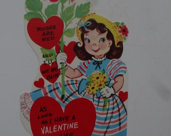 Vintage Valentine Little Girl with Roses  Sweet 1950's  or Earlier Retro