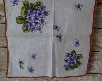 Vintage Hankie or Handkerchief Violets Florals Lovely