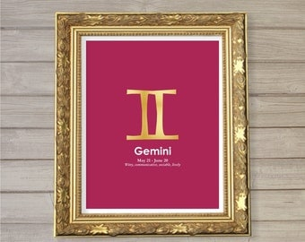 Gemini Zodiac Horoscope Instant Download Printable Faux Gold Foil 8x10 - Birthday Gift Astrology Poster Home Decor Wall Room Art