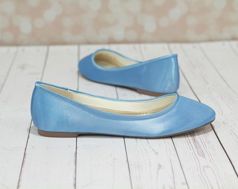 Something Blue  Shoes - Shoes - Wedding Shoes -  Blue Wedding Shoes - Blue Flats - Blue Wedding Flats - Choose From Over 150 Colors - Ballet