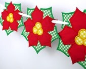 """Poinsettia Banner In The Hoop Project Machine Embroidery Designs Applique Patterns for Christmas in 3 sizes 4"""", 5"""", 6"""""""