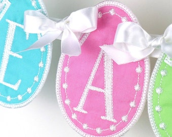 """Easter Egg Banner In The Hoop Banners Machine Embroidery Designs Applique Patterns all done In-The-Hoop in 5 sizes 4"""", 5"""", 6"""", 7"""", 8"""""""
