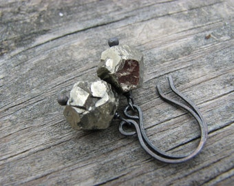 Fools Gold Earrings Pyrite Nuggets Oxidized Sterling Silver Geometric Pyrite Nuggets Gold Black Earrings Fool's Gold Pyrite