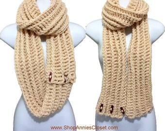 Multi Purpose Mega Chunky Heavy Button Ribbed Crochet Infinity Scarf Beige