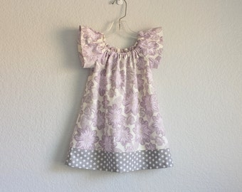 LAST ONE! Girls Purple Flutter Sleeve Dress - Lavender and Grey Floral Dress - Little Girls Clothing - Size 12m, 18m, 2T, 3T, 4T, 5, 6 or 8