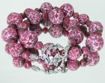 Raspberry Flower and Czech Glass Necklace with Earrings