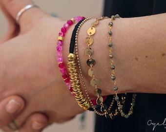 Gold bracelet, gold beaded bracelet, simple gold bracelet, black gold bracelet, black leather bracelet, layering gold bracelet, stacking