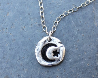 Crescent moon and star Necklace - handmade fine silver freeform pebble charm - textured oxidized sterling silver chain- free shipping USA