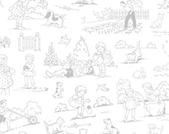 SALE Pewter Garden Toile from the FOG City Kitty collection by Pam Kitty Morning for Lakehouse drygoods