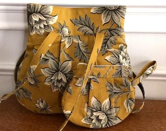 Everyday Purse - Handbag - Gold Floral Reproduction print - Designer Fabrics - Handmade Bag - Small Tote Bag