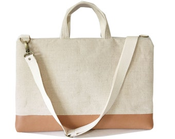 Laptop bag with handles and detachable shoulder strap -cotton linen canvas -Ready to ship