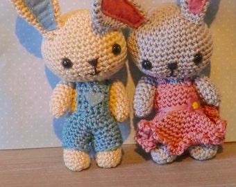 Easter bunny boy and girl amigurumi crochet pattern