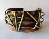 Brass and Copper Raised Architectural Cuff Bracelet